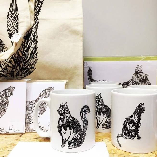 monochrome cat cups and prints bauckham designs MIA